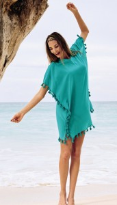 Cute turquoise beach kaftan with tassels from Anita Care
