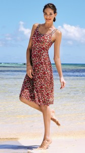 Anita care cute beach dress with red flowers and breast form pockets for silicone prostheses on both sides