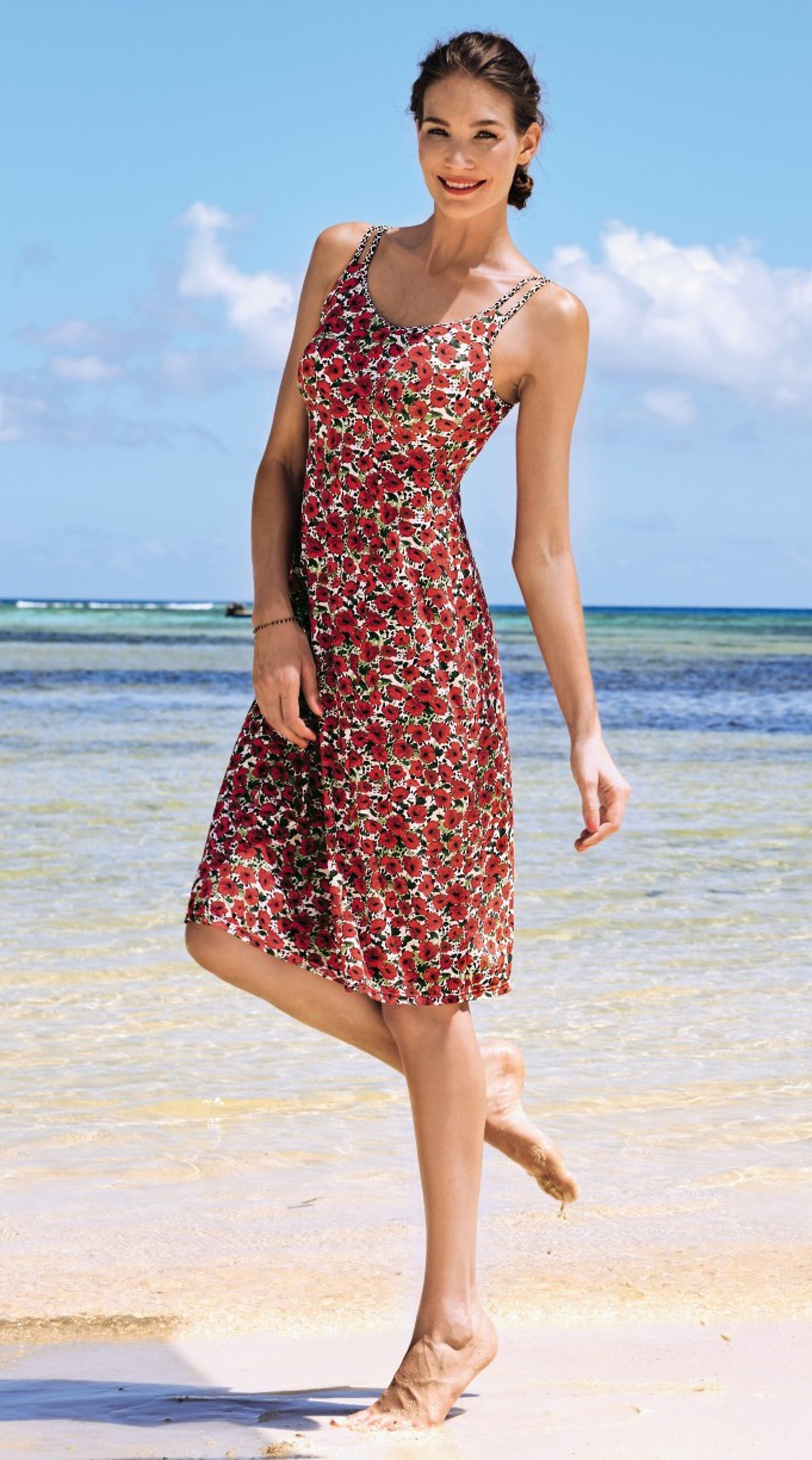 94504199d40 ... Anita care cute beach dress with red flowers and breast form pockets  for silicone prostheses on