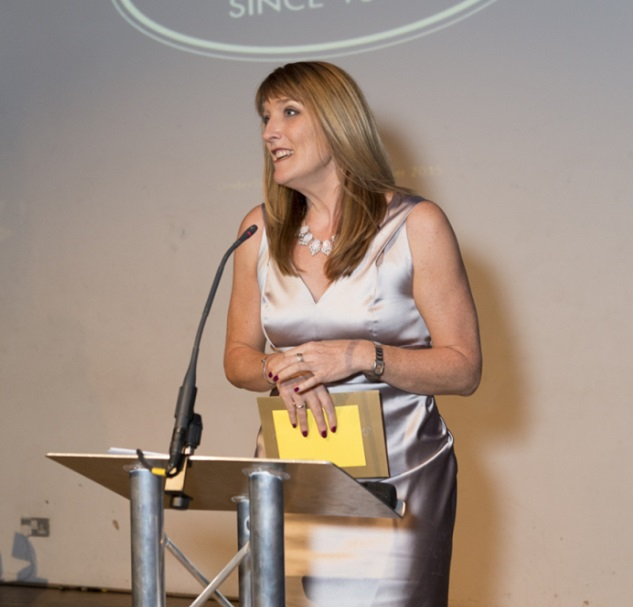 Jemma Barnes the managing director at Anita UK is announcing the winners for the 2015 Stars underlines best shop awards.