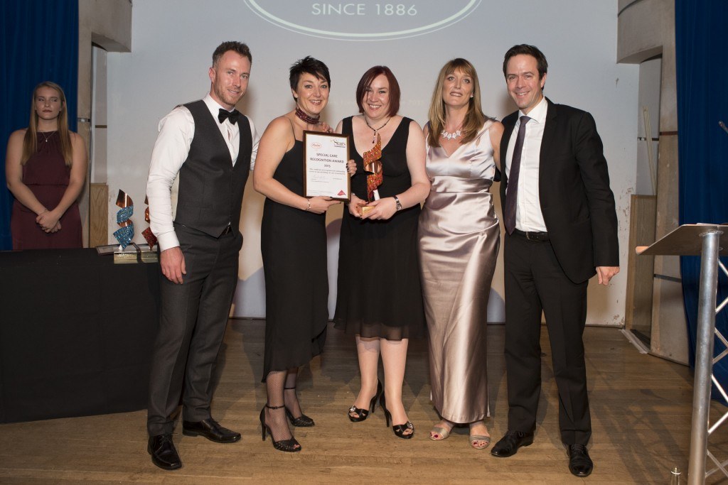 Jemma Barnes and Clemens Friemel together with embrace, the winners of the special care recognition award sponsored by Anita at the Stars best shop awards 2015.