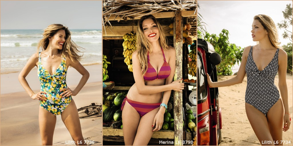Pretty bikinis and swisuits for an oval body shape who stretch otically from Rosa Faia collection 2016