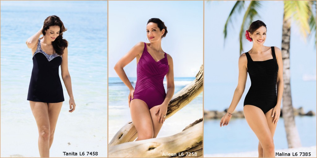 Pretty swimsuits for large sozed which make a box shaped body type look good from Anita comfort