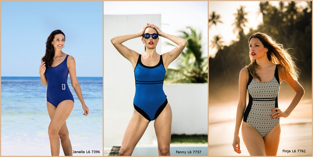 Three diffferent swimsuit and bikini styles to define the waistline, perfectly  suitable for a pear shaped body from Rosa Faia and Anita