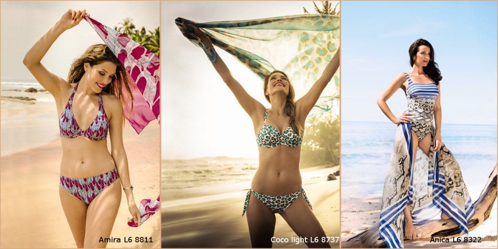 Pretty bikinis with brigh prints perfectly suited for narrow hips from Rosa Faia and Anita comfort