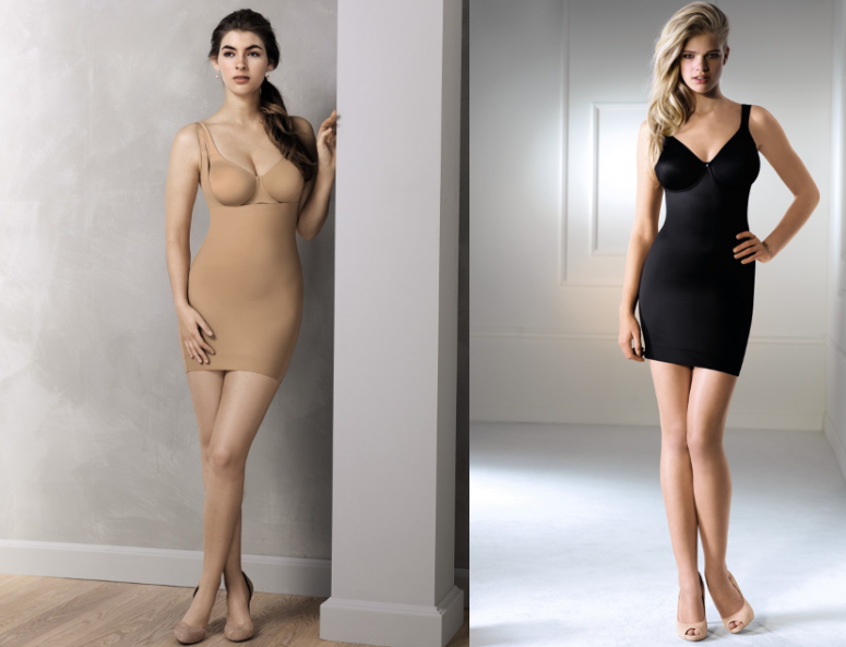 Body shaping slip dresses without seams from Rosa Faia