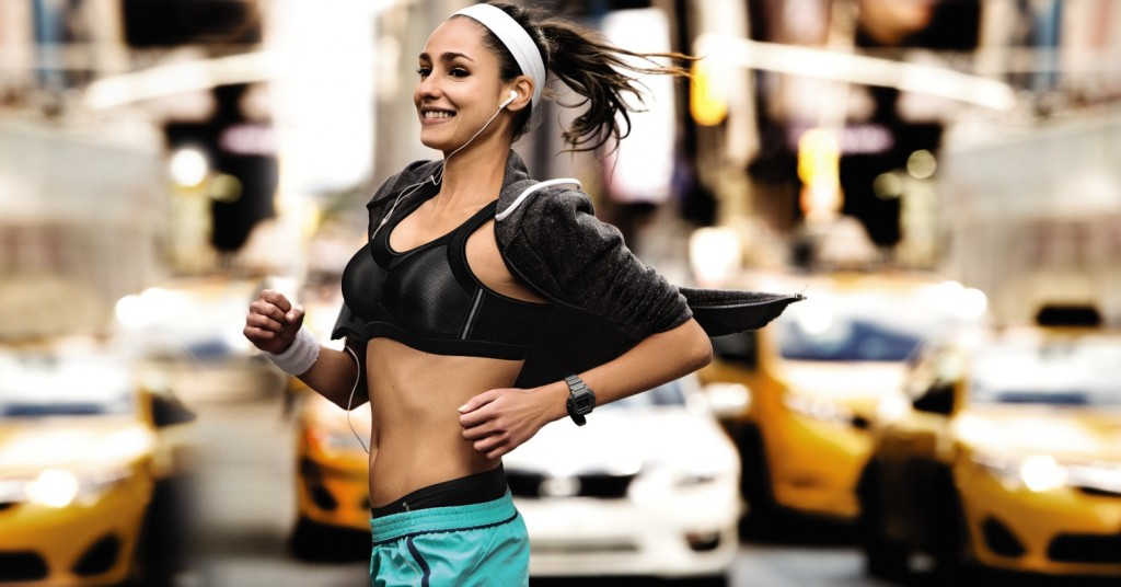 High impact sports bra momentum from Anita active on a girl running in New York city.