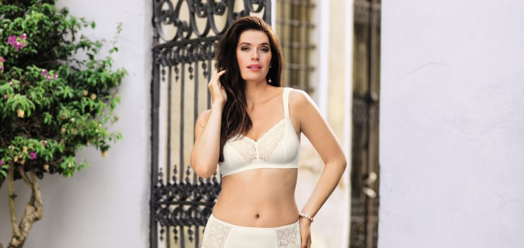 Beautiful white lace bra for plus size and queen size from Anita comfort named Havanna with matching high waist brief