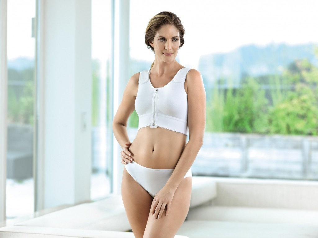 Anita compression bra white after breast surgery with fleece lining