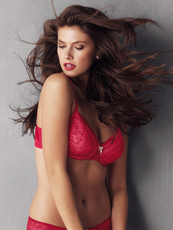 Red lace big cup bra red