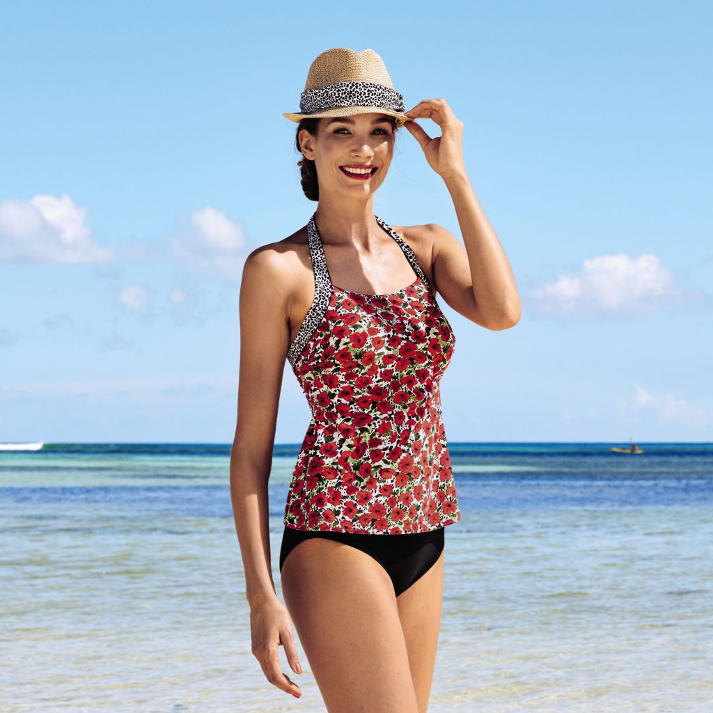 Post mastectomy tankini set from Anita care with a cute red flower print