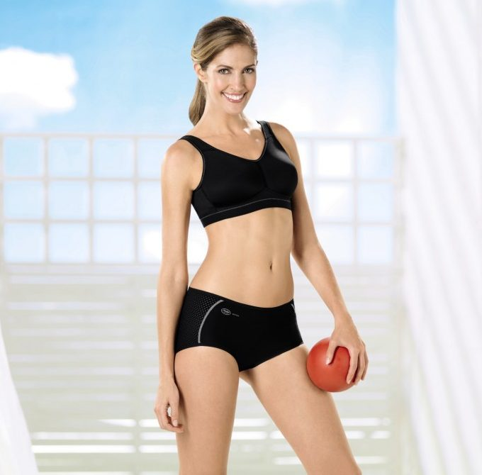 Black post surgery sports bra with breast form pockets from Anita care
