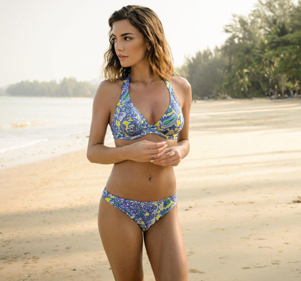 a51a2c5398dba Blue and yelow paisley print halter neck bikini set from Rosa faia