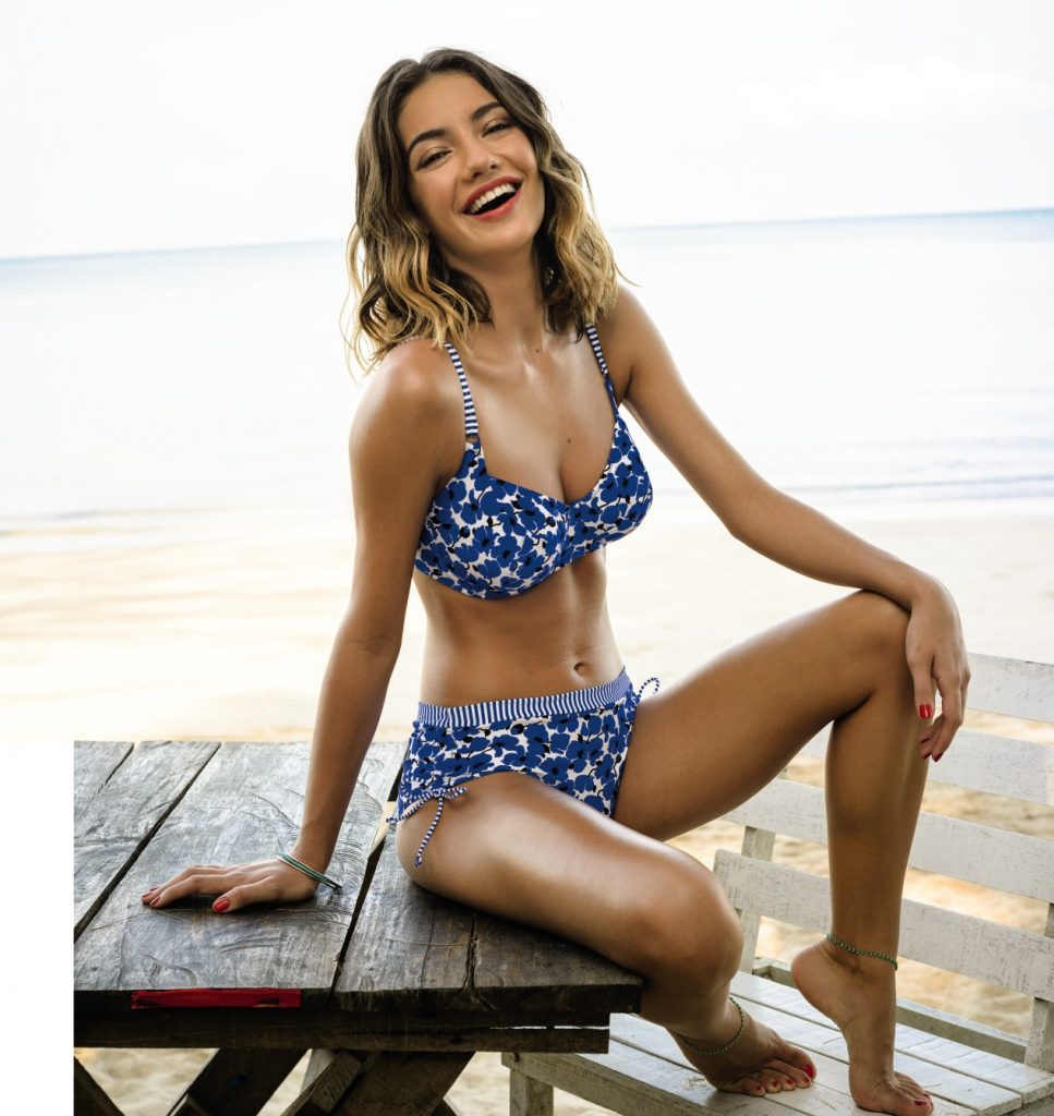 9c761851a091f Bikini swimsuit set with top and high waist bottom in a cute blue and white  flower
