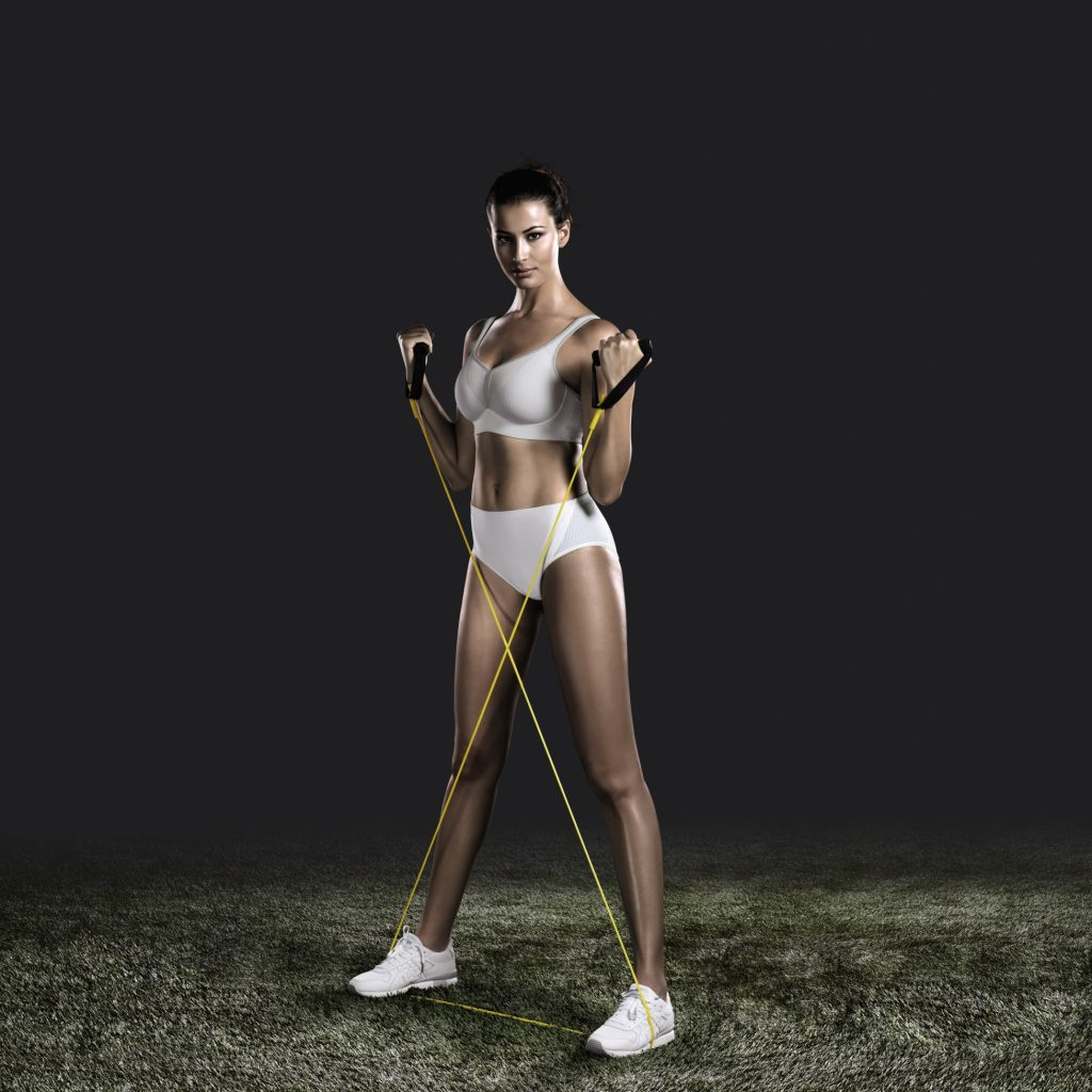 Home workouts can easily be done using an elastic resistance band