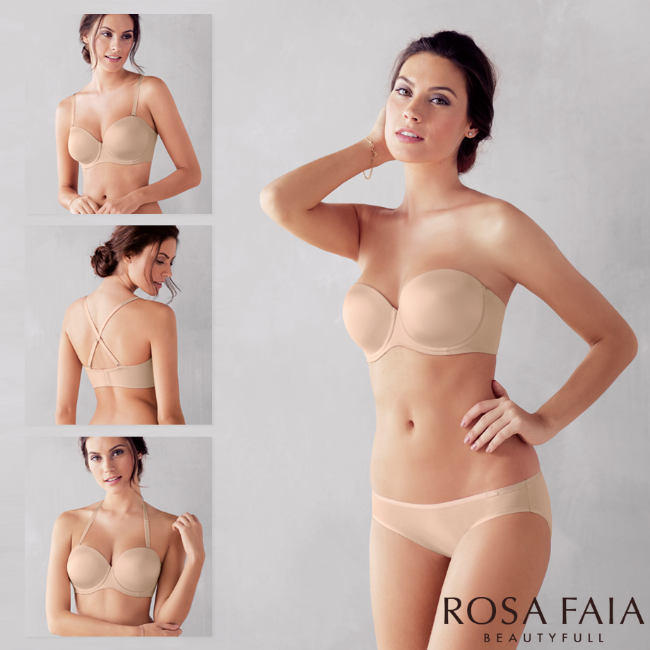 Nude multiway bra with convertible straps from Rosa Faia cup G