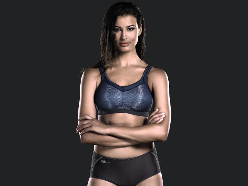 High impact sports bra Anita active denim blue