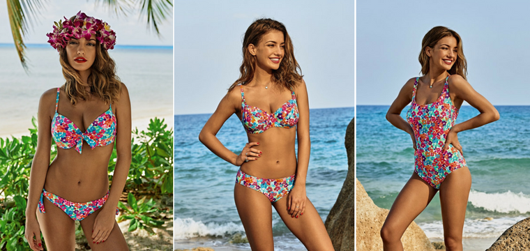 Tropical flower print in many colours and different tops and bottom styles