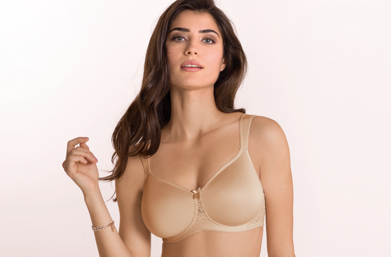 Beige comfort bra with moulded cups and non wired